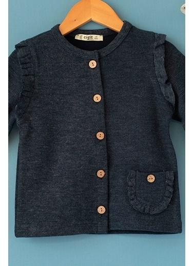 Cigit Fırfırlı Özel Kumaş Ceket Lacivert